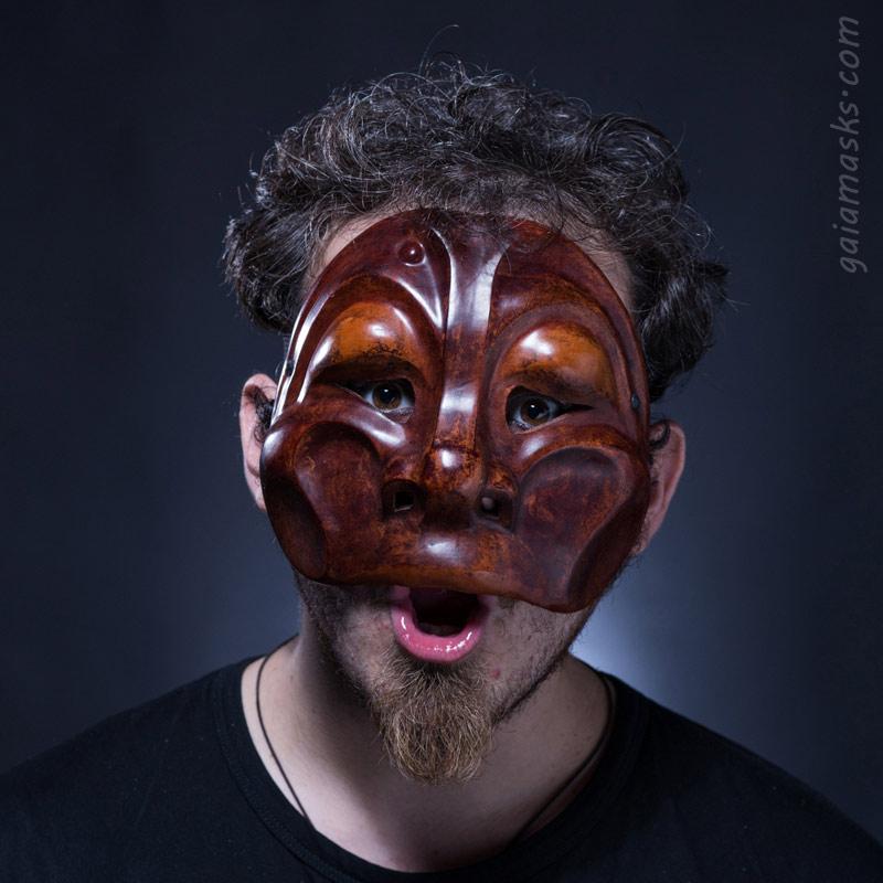maschera in cuoio Arlecchino Scimmia