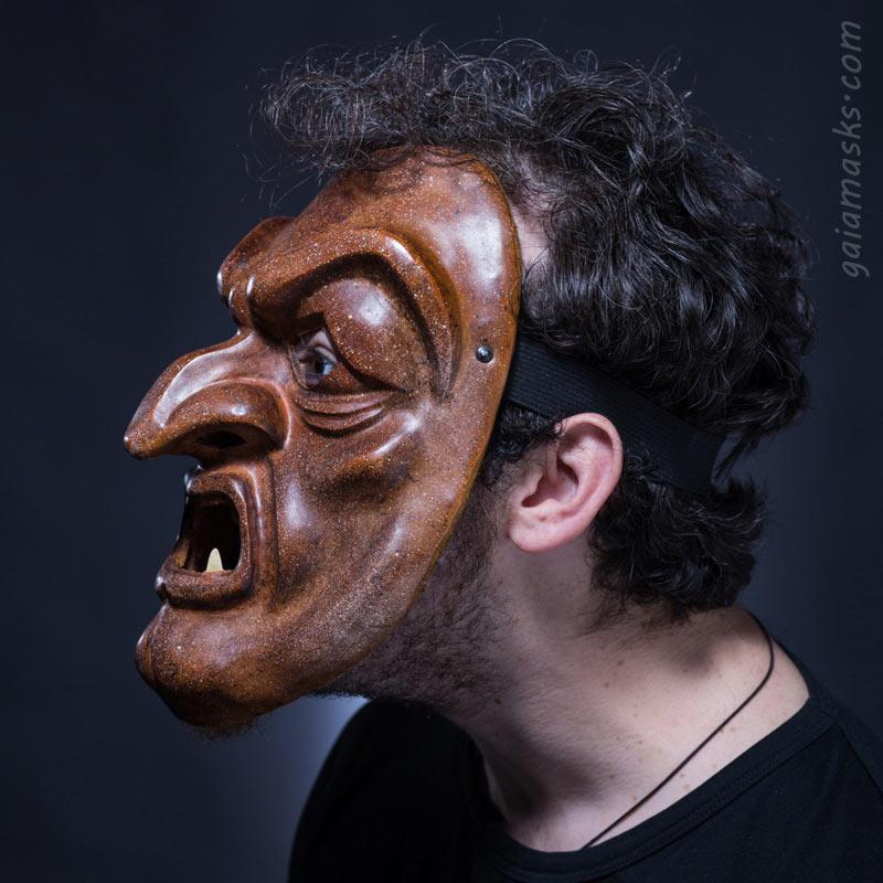 Maschera in cuoio Dossenus
