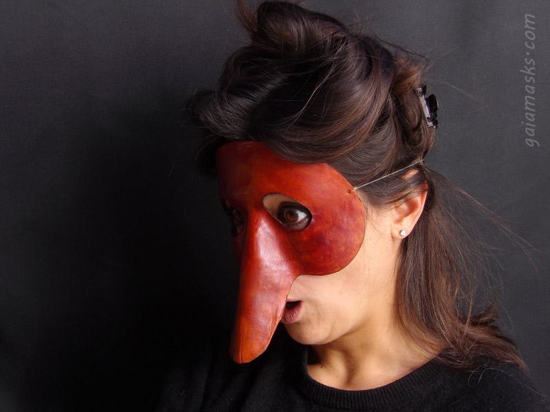 maschera in cuoio di zanni leggera
