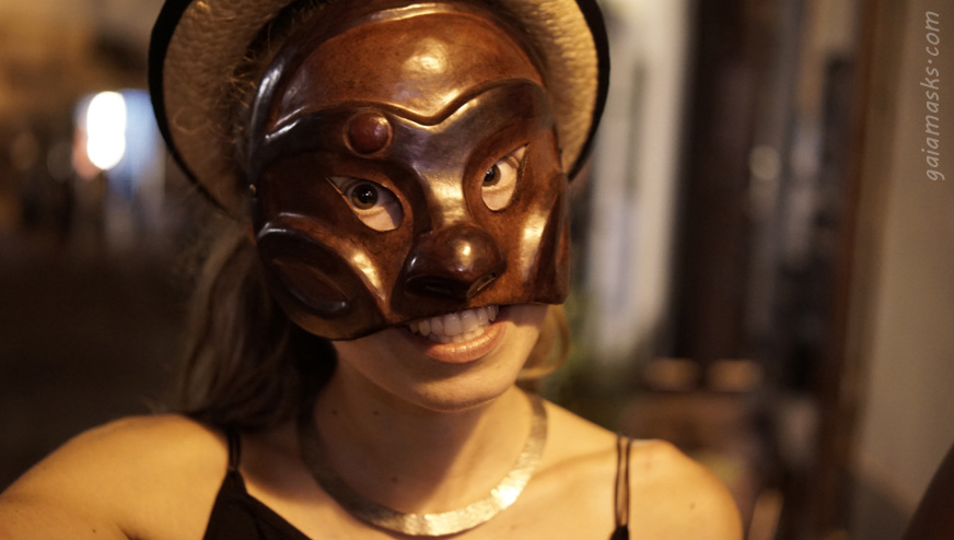Maschera in cuoio Arlecchino
