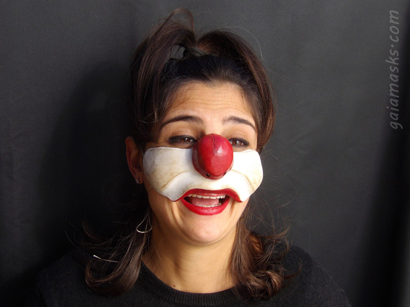 maschera in cuoio Clown Brontolone