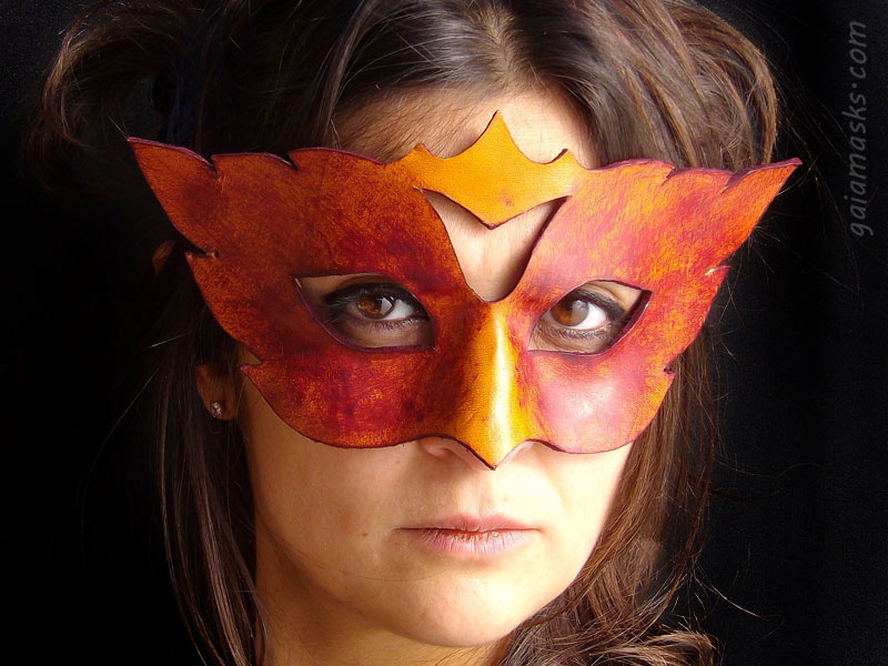 maschera in cuoio Fenice