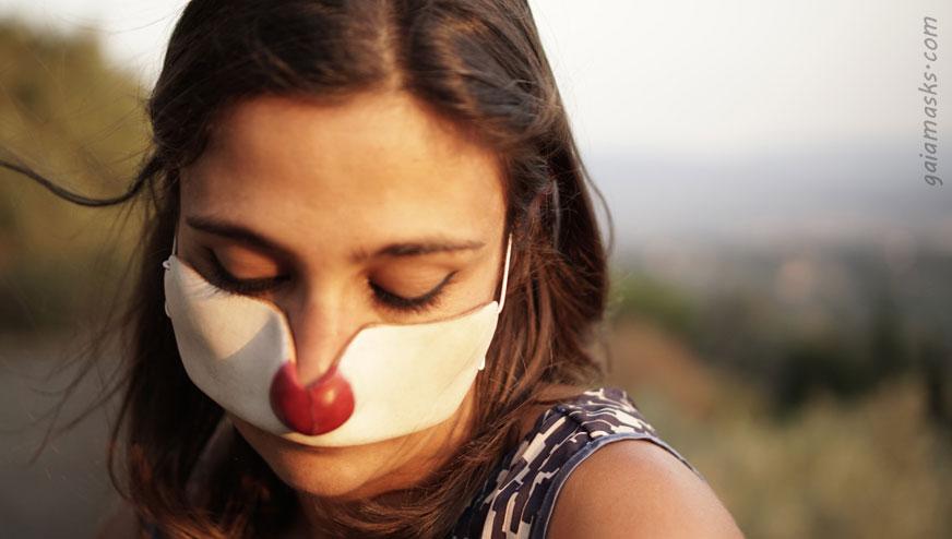 Maschera in cuoio Clown Pierrot
