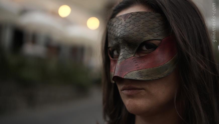 Maschera in cuoio Serpente