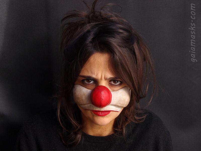 maschera clown triste in cuoio