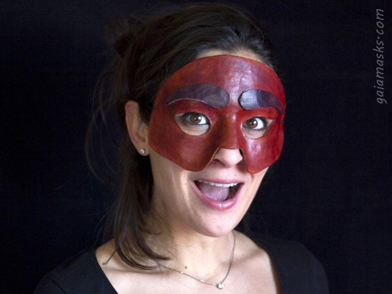 maschera in cuoio di Arlecchino leggera