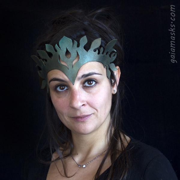 Tiara Floreale verde tagliata a laser