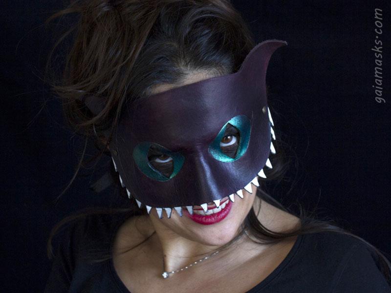 halloween maschera in cuoio Stregatto