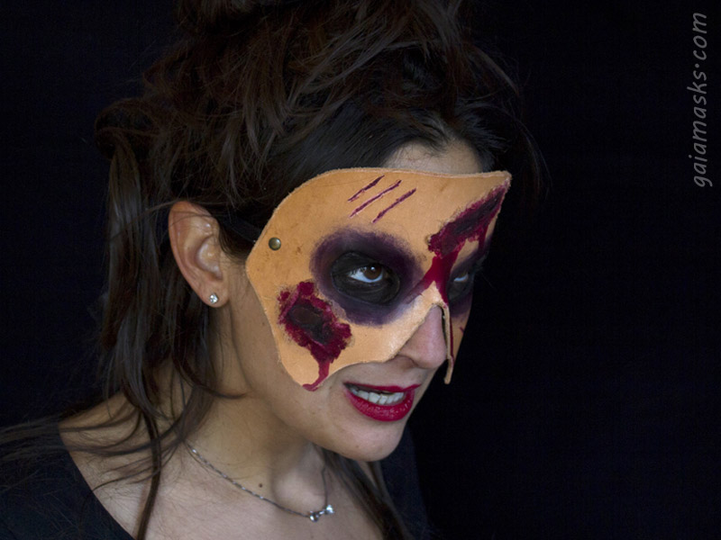 Maschera in Cuoio Zombie Ferite