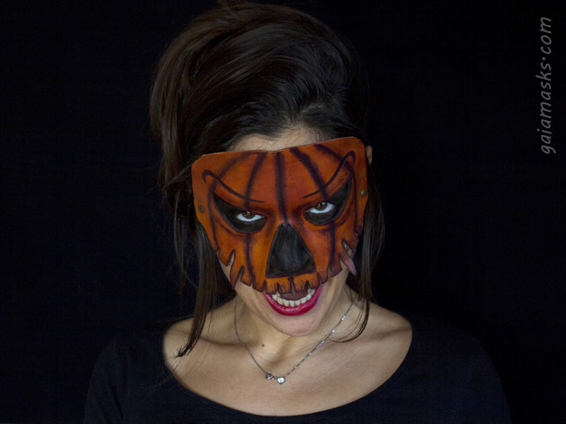 maschera in cuoio di halloween Jack O' Lantern
