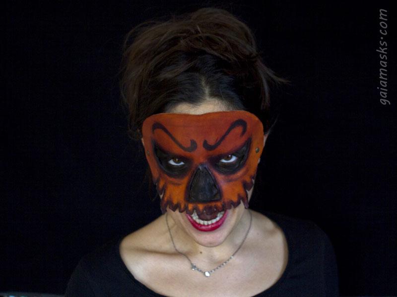 halloween maschera in cuoio zucca